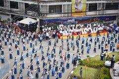 Odgórnego widoku Dziejowy obrazek ceremonia taniec bogini Thailand 2018 Zdjęcie Royalty Free