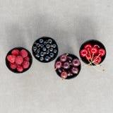 Odgórnego widoku jagody: malinki, wiśnia, agrest, rodzynek w cztery pucharach Obraz Stock