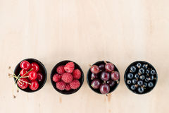 Odgórnego widoku jagody: malinki, wiśnia, agrest, rodzynek w fo Zdjęcia Stock