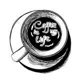 Odgórnego widoku kawowy nakreślenie Ilustracja Wektor