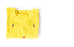 Odgórnego widoku koloru żółtego ubrania dzia pulower na białym tle, wor zdjęcie royalty free