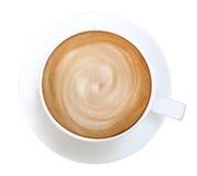 Odgórnego widoku latte cappuccino gorąca kawowa spirala odizolowywająca na białym tle, ścieżka fotografia stock