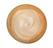 Odgórnego widoku latte cappuccino gorąca kawowa spirala odizolowywająca na białym tle, ścieżka fotografia royalty free