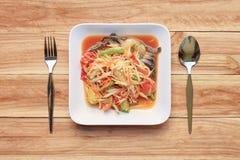 Odgórnego widoku melonowa sałatka somtum w Tajlandzkim jedzenie stylu dla projektów di Obrazy Stock