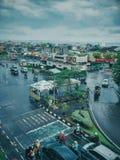 Odgórnego widoku miasta ruch drogowy Obraz Stock