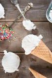 Odgórnego widoku mleka lody rożek Zdjęcia Royalty Free