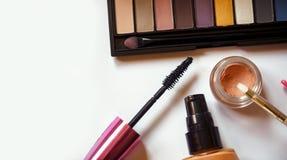 Odgórnego widoku piękna produkty dla fachowego makijażu Obraz Stock