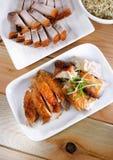 Odgórnego widoku Pieczony kurczak & Piec na grillu wieprzowina Obrazy Royalty Free
