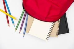 Odgórnego widoku plecak i szkoła materiały na białym tle zdjęcie royalty free