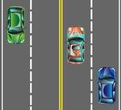 Odgórnego widoku samochody na asfaltowej drodze ilustracji