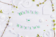 Odgórnego widoku skład wiosny literowanie, gałąź z młodymi krótkopędami greenery, merengue cukierki i cukierków serca Cześć, hand Fotografia Royalty Free