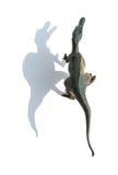 Odgórnego widoku spinosaurus popielata zabawka na bielu z cieniem Obrazy Royalty Free