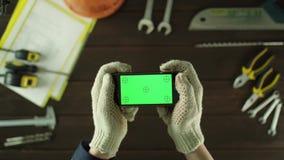 Odgórnego widoku strzał Bawić się mobilną grę zbiory wideo