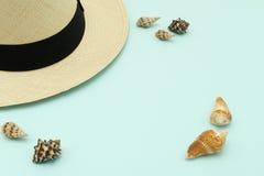 Odgórnego widoku stylu nakrętek Panama kapelusz kłaść na niebieskie niebo koloru tle Fotografia Royalty Free