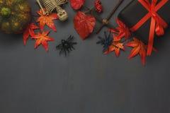 Odgórnego widoku Szczęśliwy Halloweenowy Wakacyjny tło z dekoracją Obraz Royalty Free