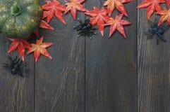 Odgórnego widoku Szczęśliwy Halloweenowy Wakacyjny tło z dekoracją Zdjęcie Stock