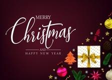 Odgórnego widoku Wesoło boże narodzenia i Szczęśliwa nowy rok typografii wiadomość royalty ilustracja