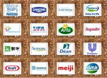 Odgórni globalni nabiał firm logowie Zdjęcia Stock
