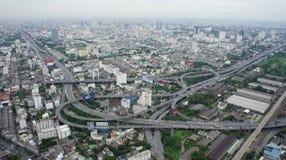Odgórny Bangkok widok. Przewiezione wymiany, overpasse fotografia royalty free