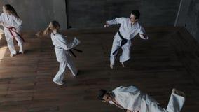 Odgórny całkowity widok Praktyka Taekwondo lub karate w parach Wojownika wp8lywy obraca wykonywać silnych kopnięcia Atlety odbici zdjęcie wideo