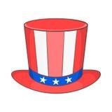 Odgórny kapelusz w usa flaga barwi ikonę, kreskówka styl Obraz Stock