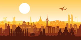 Odgórny sławny punkt zwrotny Azja, sylwetka projekta menchia barwi royalty ilustracja