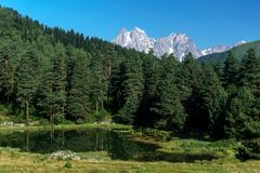 Odgórny Ushba w Kaukaz Obrazy Royalty Free