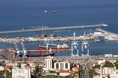 Odgórny widok śródmieście i port, Haifa Obraz Stock