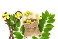 Odgórny widok świeża gwiazdowa agrestowa owoc na białym tle Obrazy Royalty Free