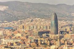 Odgórny widok Agbar Barcelona i wierza miasto, Hiszpania Obrazy Royalty Free