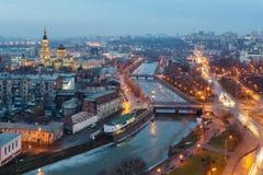 Odgórny widok Annunciation katedra, Zalopan okręg i centrum Kharkiv, zdjęcie royalty free