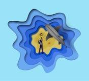 Odgórny widok artystyczny wektorowy denny nurek z harpunu pistoletem próbuje łapać pirata pudełko z złocistymi monetami i siwieć  royalty ilustracja