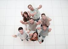 Odgórny widok bardzo szczęśliwa biznes drużyna fotografia stock