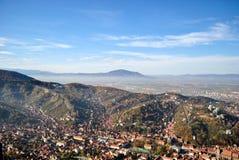 Odgórny widok Brasov centrum miasta Zdjęcie Stock