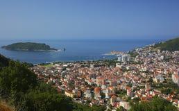 Odgórny widok Budva Montenegro Zdjęcie Royalty Free