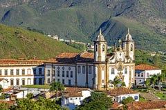 Odgórny widok centrum historyczny Ouro Preto miasto zdjęcie royalty free