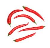 Odgórny widok chili pieprze (odizolowywający) Zdjęcie Stock