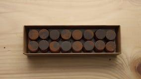 Odgórny widok czekoladowy candys pudełko Obrazy Stock