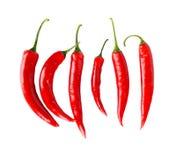 Odgórny widok czerwoni pieprze odizolowywał białego tło Fotografia Stock