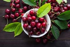Odgórny widok dojrzała świeża czereśniowa owoc Obraz Stock