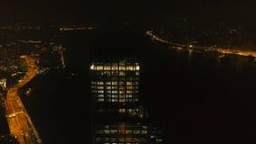 Odgórny widok drapacz chmur w Hong Kong przy nocą zapas Piękny widok wysoki drapacz chmur w Środkowym biznesie Obraz Royalty Free
