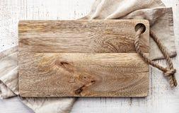 Odgórny widok drewniana tnąca deska obrazy royalty free