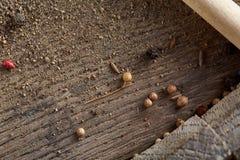Odgórny widok drewniane łyżki pełno paprica i czarny pieprz na drewnianym lufowym tle, selekcyjna ostrość Zdjęcia Royalty Free