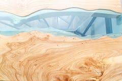Odgórny widok drewno dla tła Tekstura drewniany stół z epoxy żywicą zdjęcia royalty free