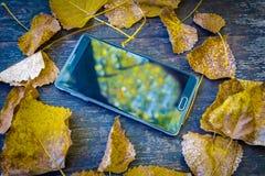 odgórny widok duży czarny telefon komórkowy wśrodku żółtych jesiennych liści Zdjęcia Royalty Free