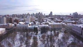 Odgórny widok duży Rosyjski miasto w zimie klamerka godziny krajobrazu sezonu zim? widok z lotu ptaka Republika Karelia, północ R zbiory