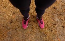 Odgórny widok dysponowane nogi Zbliżenia jogger mężczyzna w sneakers na naturalnym tle Sportowiec w sportswear Maratoński pojęcie obrazy royalty free