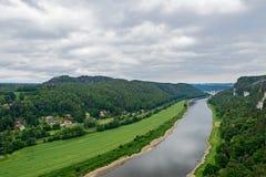 Odgórny widok Elbe Sasa park narodowy Zdjęcia Royalty Free