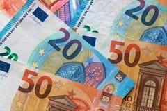 Odgórny widok euro rachunki obraz royalty free
