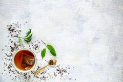 Odgórny widok filiżanka herbata fotografia royalty free